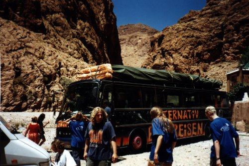 Our nightliner-bus at Todra Canyon